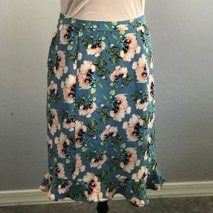 Downeast floral pencil skirt ruffle hem